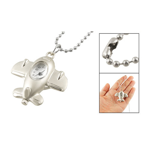 YCYC!5* Silver Tone Metal Airplane Shaped Pendant Necklace Pocket Watch With Chain image