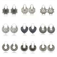 Tocona винтажные античные серебряные серьги-кольца в форме цветка лотоса с кристаллами, этническая резная серьга Brincos для женщин, ювелирные из...