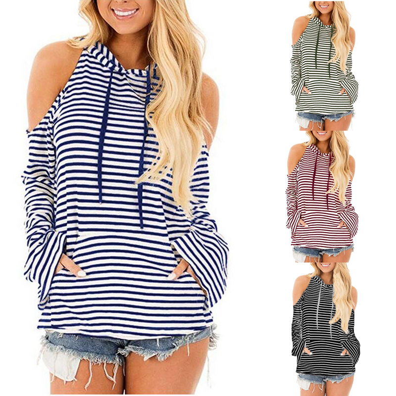2018 Autumn Plus Size Women Off Shoulder Hoodie Tops Long Flare Sleeve Striped Blouse Winter Jumper Elegant Sweats Pullover Top