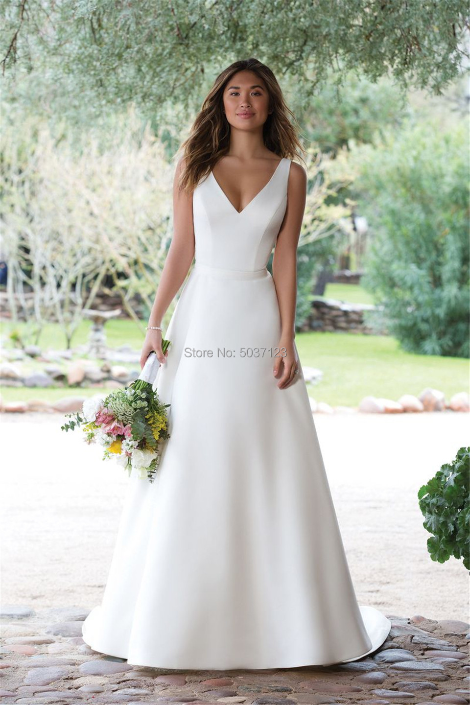 V Neck White Ivory Illusion Button Wedding Bridal Gown