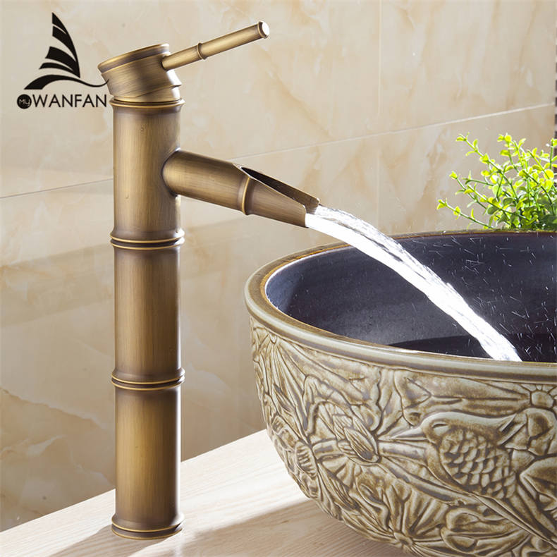 Basin Faucet Antqiue Brass Bamboo Waterfall Bathroom Sink Faucet ...