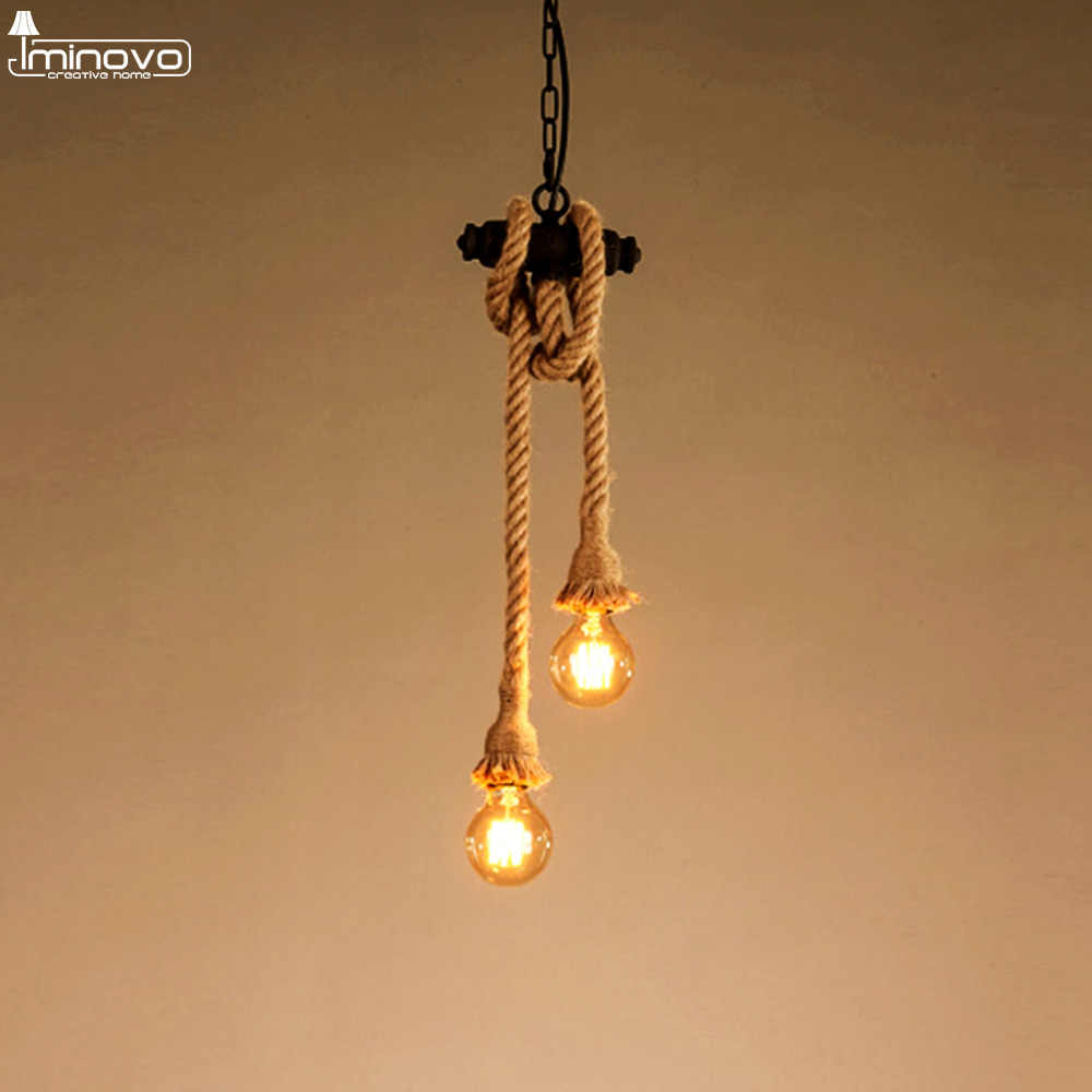 Retro Vintage Rope Pendant Light Lamp Loft 18mm 25mm E27 Personality Industrial Edison Bulb Restaurant Coffee Bar American Style