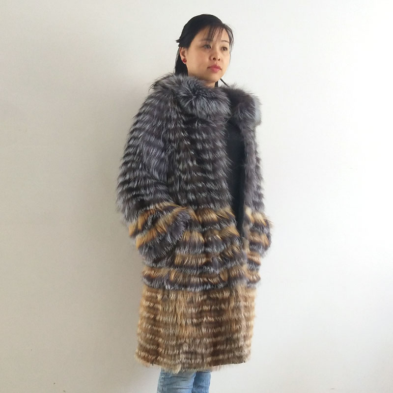QD.YISHANG Coat Women Stand-Collar Fox-Fur Knit Wool Natural Real-Silver Liner Stylish