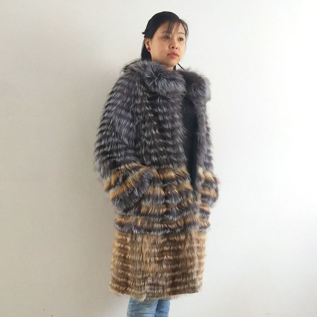 Real silver fox fur coat,natural fox fur coat women fur coat fox, Wool knit liner,stylish stand  collar 2019 QD.YISHANG