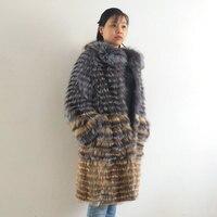 Real silver fox fur female long coat, natural silver fox making stylish stand collar coat 2019 QD.YISHANG