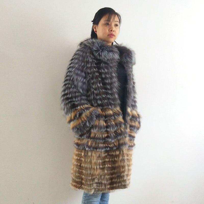 Real silver fox fur feminino casaco comprido, natural silver fox fazer elegante stand gola do casaco 2019 QD. YISHANG