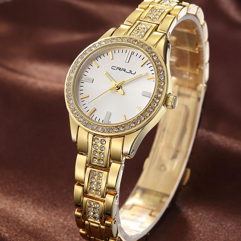 CRRJU Top Brand watch Quartz Watch Rhinestone Wristwatches Waterproof women s Watch Women luxury watches Relogios