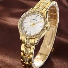 Crrju top brand reloj de cuarzo reloj de pulsera de diamantes de imitación reloj de las mujeres impermeables de las mujeres relojes de lujo relogios femenino para