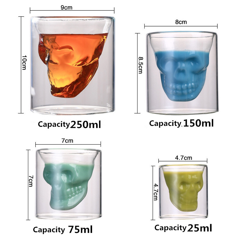 4 Sizes Skull Head Wine Glass Mug Crystal Beer Whiskey Shot Double Glass Cup Vodka Drinking Bar Club Beer Wine Glass Bottle S3