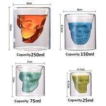 4 Sizes Skull Head Wine Glass Mug Crystal Beer Whiskey Shot Double Cup Vodka Drinking Bar Club Bottle S3