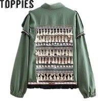 2018 Autumn Women Army Green Aztec Jackets Bohemian Tassels Vintage Coat Pom Pom Boho Jackets