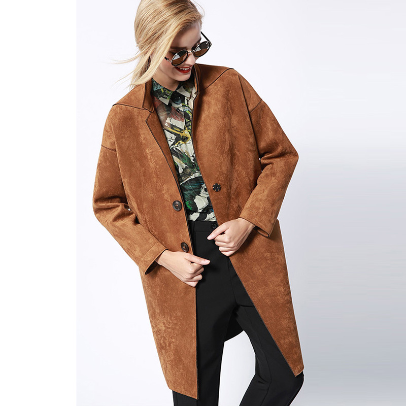 Warm Lapel   Suede   Loose Long Trench Women Autumn Winter Fashion Casual Slim Overcoat Button Faux   Leather   Cocoon Windbreaker P1635