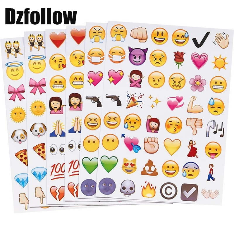 6 sheet(48stickers) 6styles Cute Lovely Die Cut Emoji Smile emoticons stickers For Notebook Message High Vinyl Funny Creative 1 pcs sticker 48 classic emoji smile face stickers for notebook albums message twitter large viny instagram classical toys