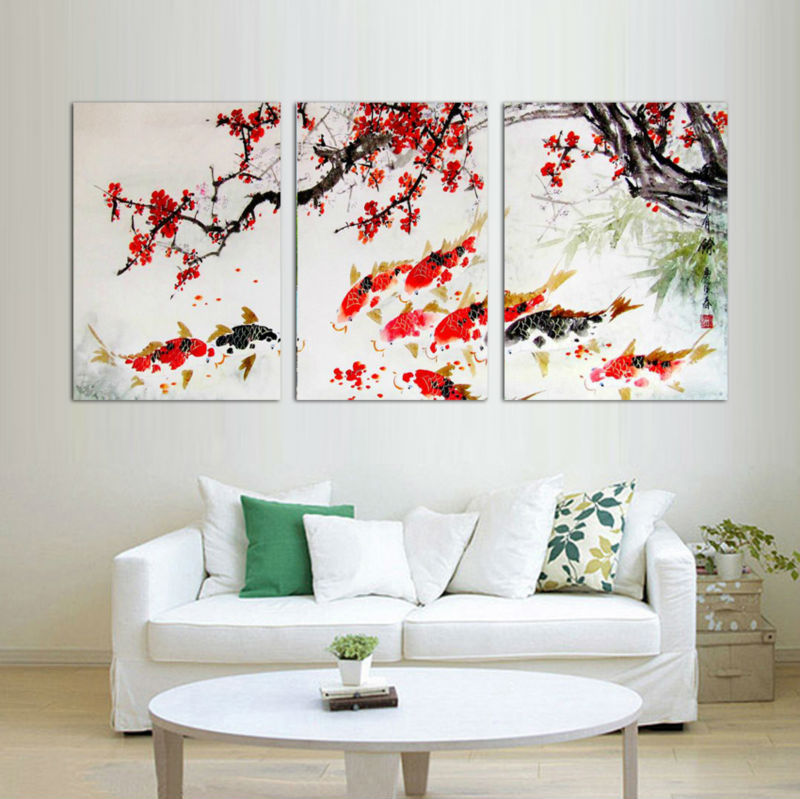 3 piece free shipping modern wall painting cherry blossom for Koi fish home decor