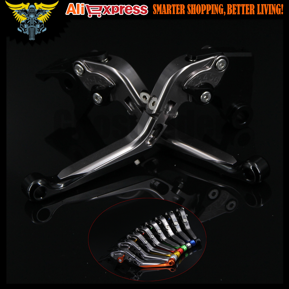 Black+Titanium Adjustable Extendable Motorcycle Brake Clutch Levers For SUZUKI SFV650 GLADIUS 2009 2010 2011 2012 2013 2014 2015 motorcycle cnc aluminum brake clutch levers for suzuki sfv650 gladius 2009 2015 dl650 v strom 2011 2012 gsr600 2006 2011