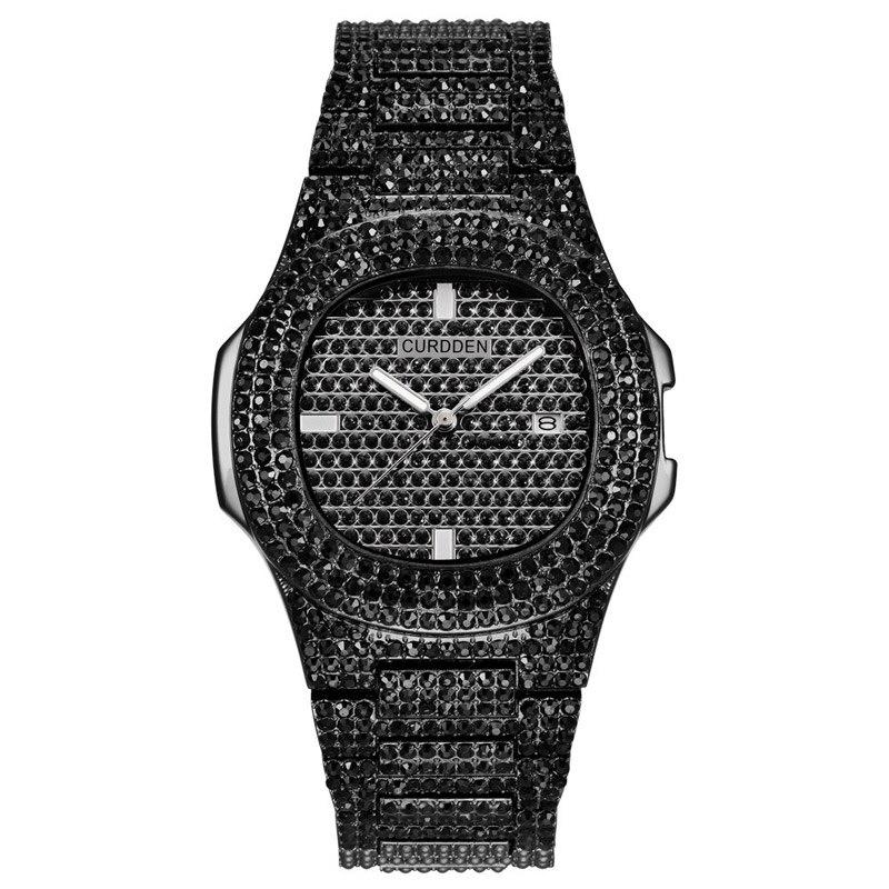 Роскошные часы с бриллиантами для мужчин и женщин, часы в стиле хип-хоп, мужские кварцевые часы, ремешок из нержавеющей стали, деловые наручные часы для мужчин - Цвет: Черный