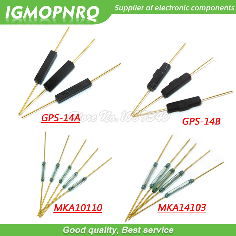 10pcs Reed Switch Plastic MKA14103 MKA10110 GPS-14B GPS-14A 2*14MM Anti-Vibration Damage Magnetic Switch NC Normally Closed