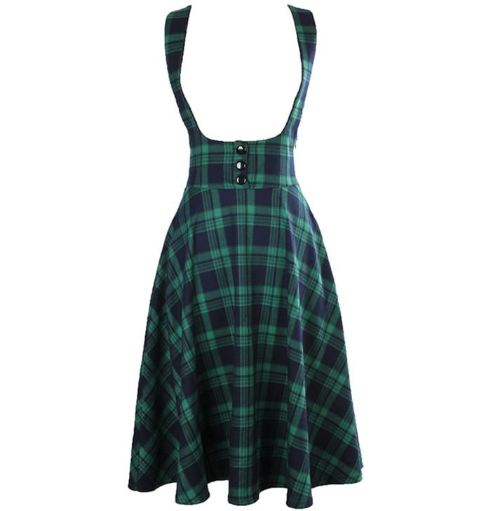 a908a8cc394 20- winter women vintage 50s swing midi brace skirt in green tartan pinup suspender  skirts plus ...