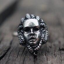 Greek Mythology Gorgon Monster 316L Stainless Steel Rings Horror Venomous Snakes Snake Hair Medusa Ring Punk Biker Jewelry цена и фото