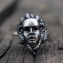 Greek Mythology Gorgon Monster 316L Stainless Steel Rings Horror Venomous Snakes Snake Hair Medusa Ring Punk Biker Jewelry(China)