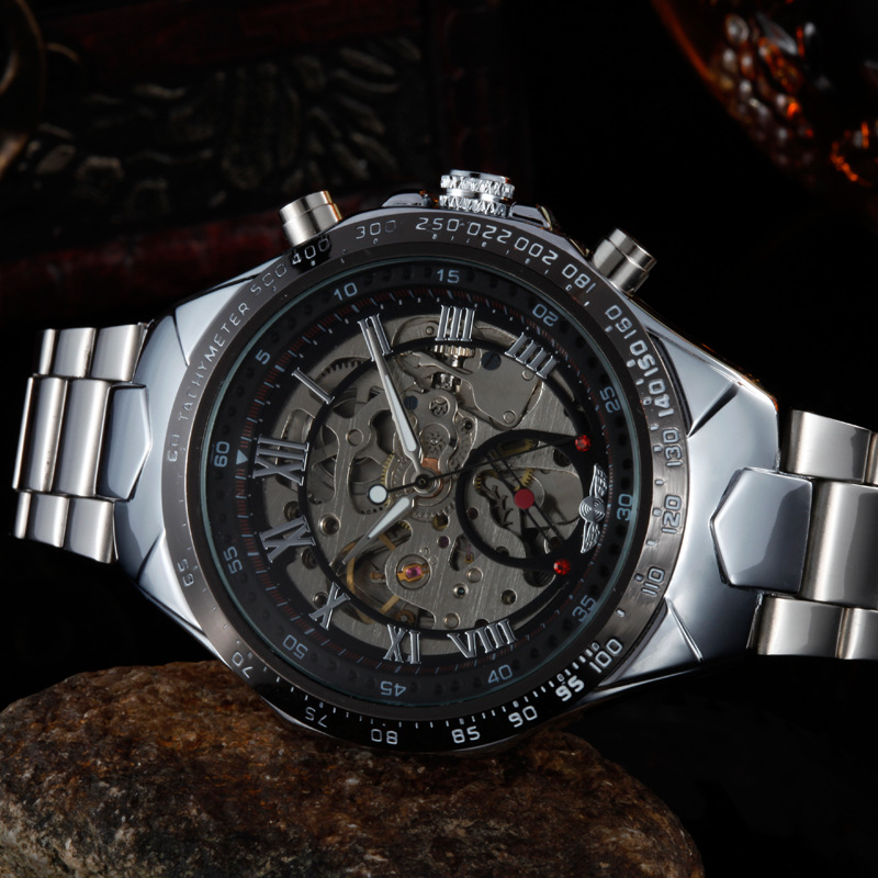 Men s New Watches Stainless Steel Automatic Mechanical Skeleton Sports Wristwatch LL