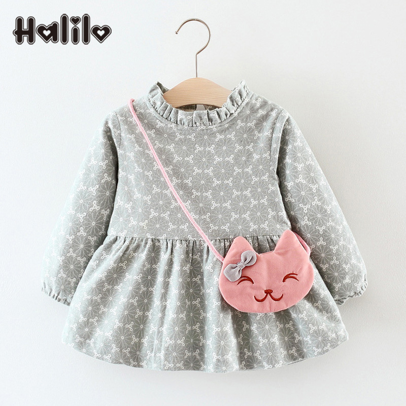 Halilo Little Girls Winter Dresses Thick Warm Newborn Baby Girl Dresses Infant Child Clothing Christmas Dress Baby Girls Clothes