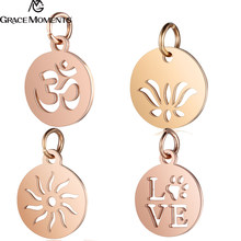 5ba263a4112 30 pçs lote 316L Encantos De Aço Inoxidável Cor de Rosa de Ouro Cut Out OM  Yoga Lotus Sun Pingentes Encantos para Fazer Jóias DI.