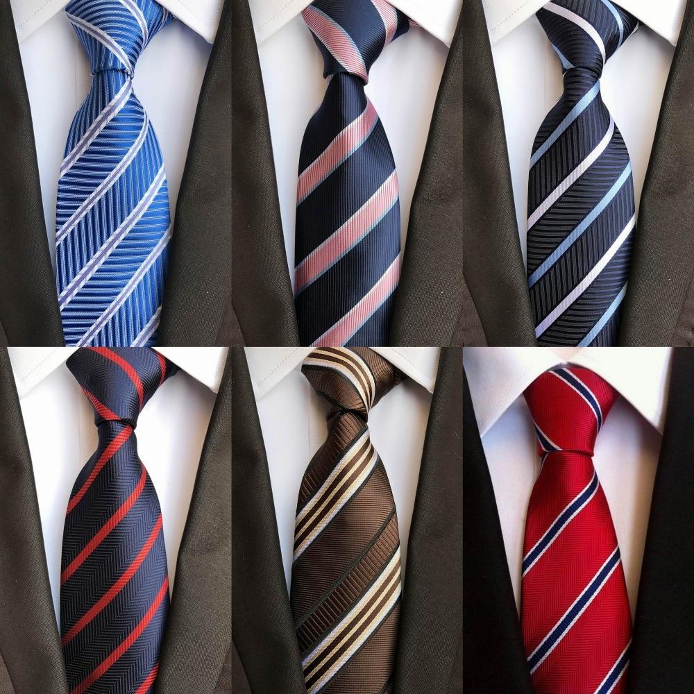 New Style 8cm Tie For Men Striped Blue White Red Jacquard Woven Classic Men Neck Ties Wedding Party Gravatas Groom Silk Necktie