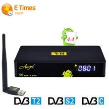 DVB-S2/T2/C V8 Ángel Sintonizador de Satélite Terrestre Receptor Amlogic S805 Android TV BOX Soporte IPTV En Vivo en línea