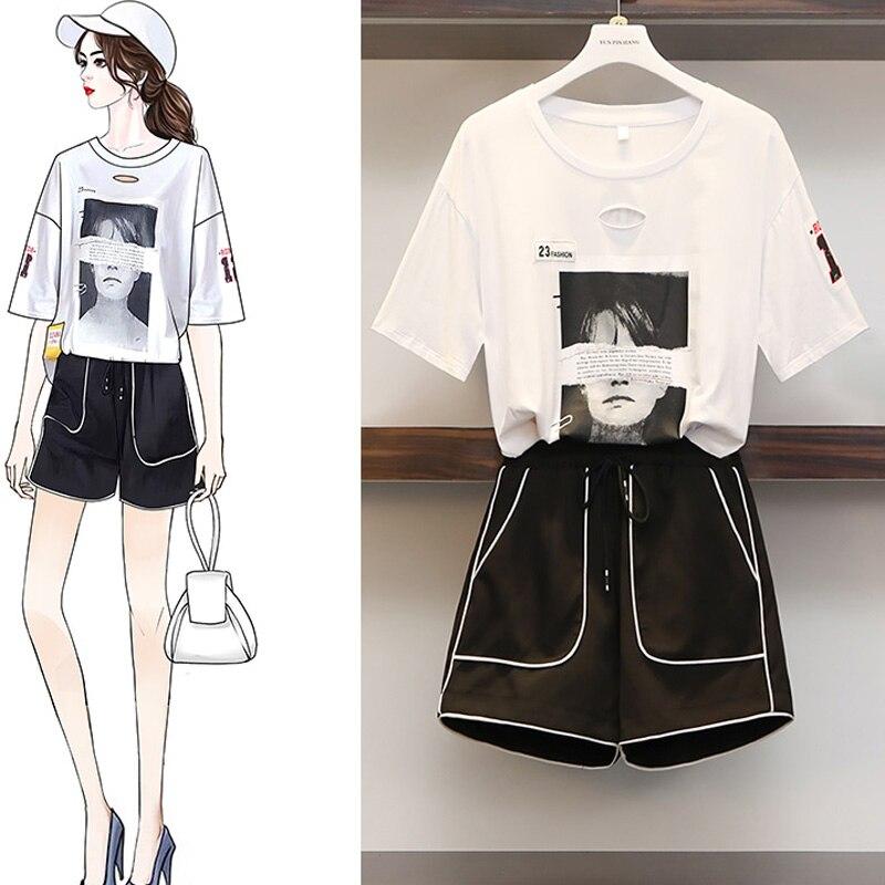 2019 été survêtement pour femmes fille imprimer blanc t-shirt + noir court deux pièces ensemble survetement femme vêtements sportifs haut et pantalon