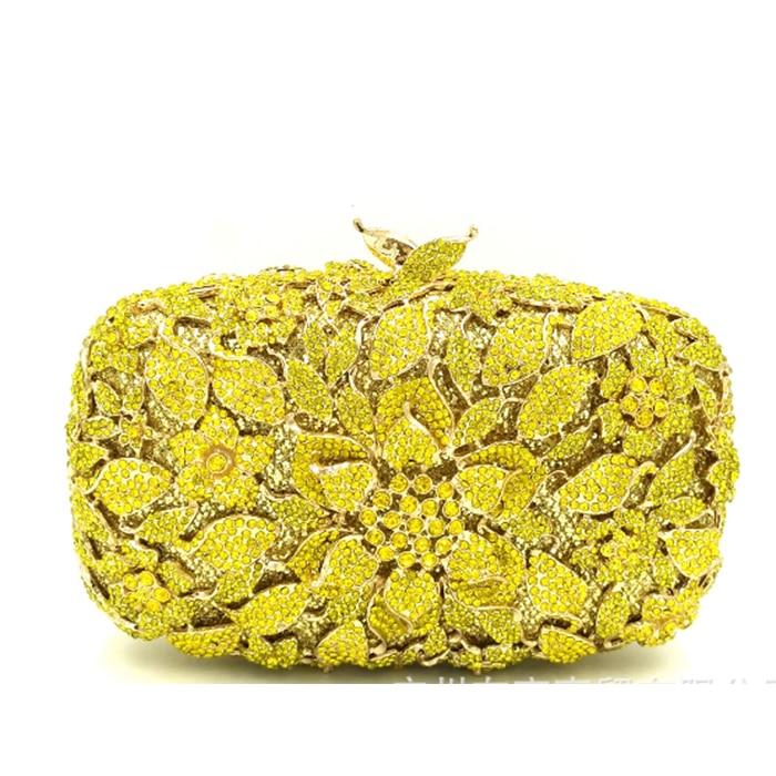 XIYUAN BRAND Luxury Designer yellow Flower Rhinestone Clutch Crystal Party Wedding Handbags Diamond party  Clutch Evening bag