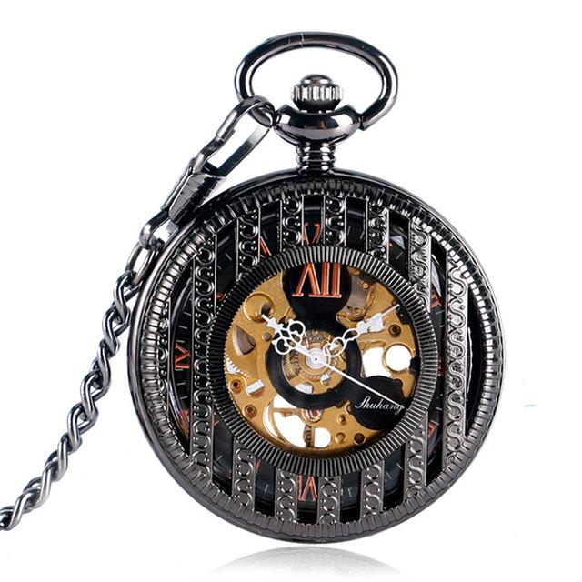 Women Men Christmas Gift Pocket Watch Cool Elegant Hand Winding Stripe Steampunk Trendy Vintage Mechanical Clock With Chain