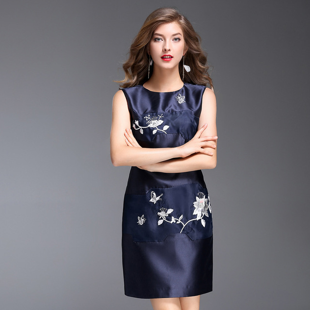 9b1c711c2aefe Women Summer Dress Office Ladies Embroidery Floral Pattern Blue White A Line  Dresses Sleeveless Plus Size Elegant Slim Dress