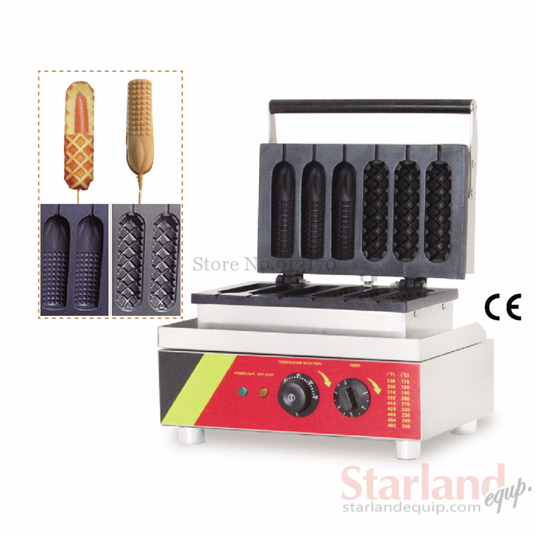 French corn waffle and hot dog waffle machine commercial lolly hotdog sausage 110v 60hz baking machine 220V/50Hz 220v 110v mixed type hot dog lolly waffle machine hot dog grill