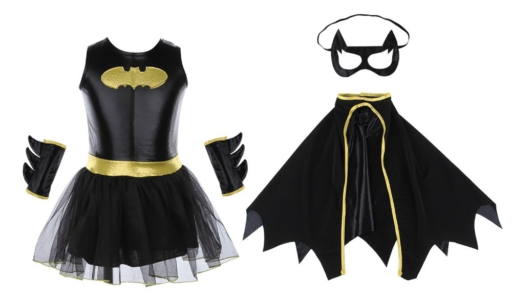 Child Girls Batman Batgirl Fancy Dress Tutu Superhero Costume Outfits Comic 4PCS 3