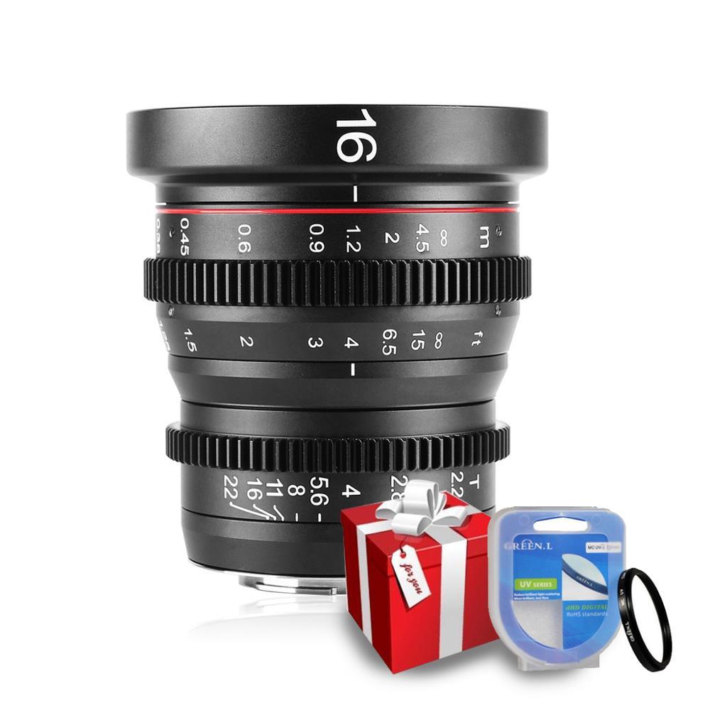 Meike 16mm T2.2 Handmatige Focus Asferische Portret Cine Lens voor Mount Olympus Panasonic Lumix MFT, m4/3 G9 GH1 GH2 GH3 G6 E P5-in Camera Lenzen van Consumentenelektronica op  Groep 1