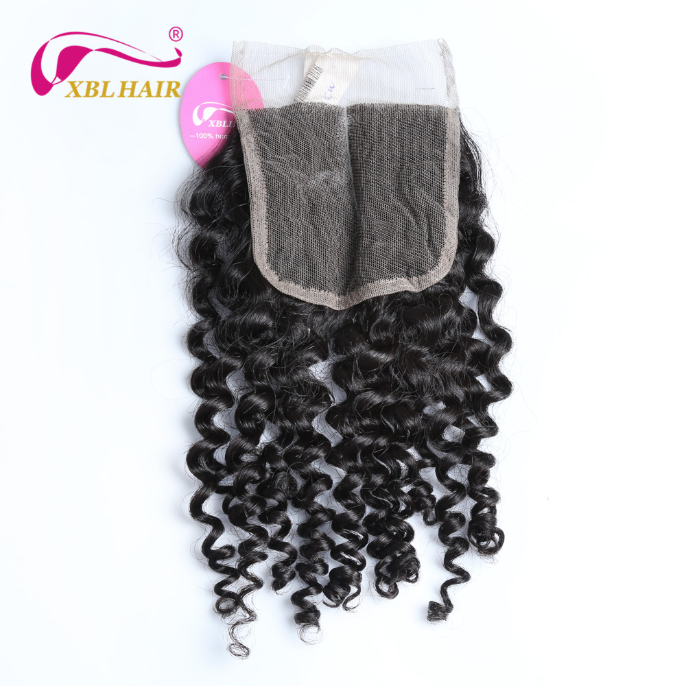 XBLHAIR Curly Lace Closure Middle Part Free Part 100% Human Hair 10-18 With Baby Hair Brazilian Remy Hair Free Shipping