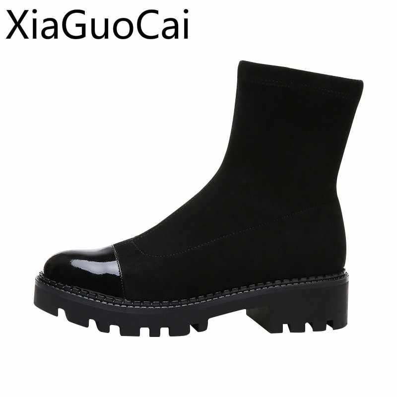 Spring and Autumn Knitting Women Socks Boots 2019 Platform Female Ankle Boots Rubber Flat Slip-on Boots