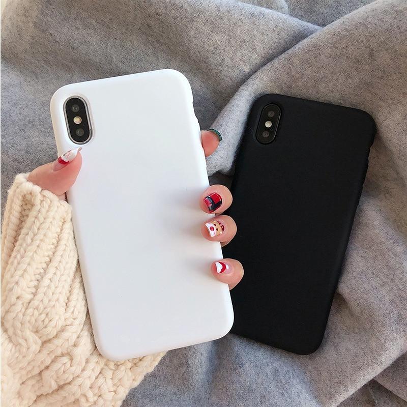 Rétro couleur Uni Simple Coréen Étui de Téléphone Pour iPhone 7 7 Puls 6 6S 7 8 Puls X Xsmax XR Xs Blanc Couverture En Silicone Souple Coque