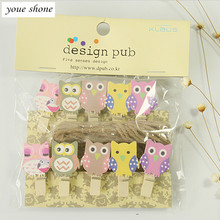 2017YEAR  Hot high-quality Korean version  te mini Q version     MOE Department owl    wooden clip  cartoon clip photo