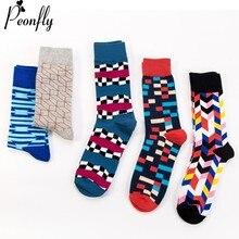PEONFLY Men Fashion Printed Stripe Square Geometry Pattern Colorful Happy Socks Autumn Winter Soft Ventilation Cotton