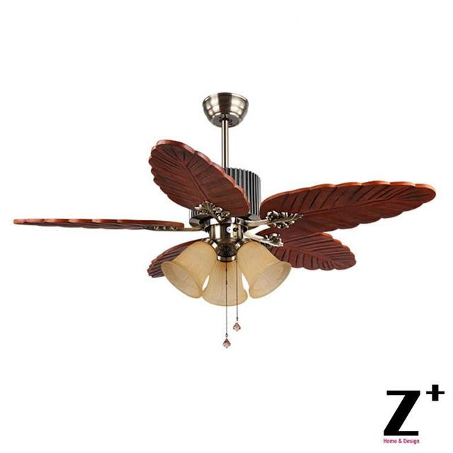 Southeast Asia Country Style Led Lights Ceiling Wood Leaf Shape Fan 48 Lamp Lighting