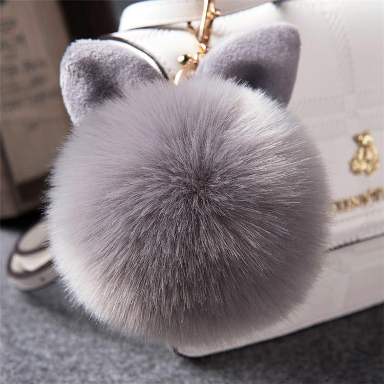 2017 Fur Pom Pom Keychain Fake Rabbit fur ball key chain porte clef pompom de fourrure pompon Bag Charms bunny keychain Keyring 35