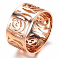 Fashion Hollow Flower Finger Ring Stainless Steel Rose Gold Plated Women Jewelry Engagement Wedding Rings gift
