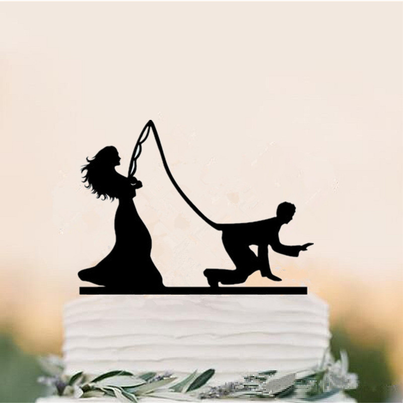 Funny Wedding Cake Topper Bride fishing groom Cake Toppers ...