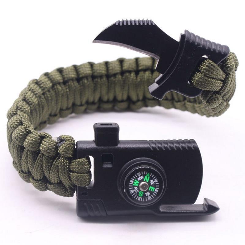 Cool!Multi Function Outdoor Survival Bracelet,Mens Bracelet Knife,Wrap Umbrella Rope Multifunctional