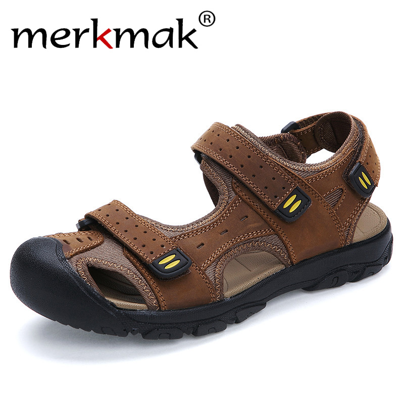Merkmak Mens סנדלי עור אמיתי קיץ 2018 חדש חוף גברים נעליים יומיומיות חיצוני הבוהן הגנה סנדלים בתוספת גודל 38-47