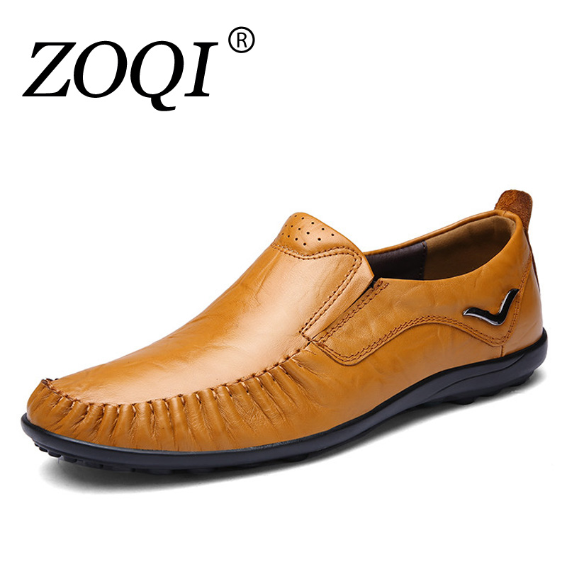 ZOQI big size 36-47 slip on casual men loafers spring and autumn mens moccasins shoes genuine leather men's flats shoes 2017 big size 38 46 genuine cow leather shoes men slip on mens shoes casual flats men loafers moccasins warm plush winter shoes