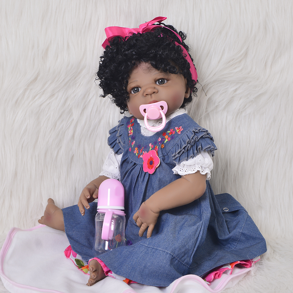 Realistic 23 Inch Silicone Reborn Baby Doll Full Body Silicone Vinyl Fashion 57 cm Baby Doll Toy Black Skin Ethnic kids PlaymateRealistic 23 Inch Silicone Reborn Baby Doll Full Body Silicone Vinyl Fashion 57 cm Baby Doll Toy Black Skin Ethnic kids Playmate