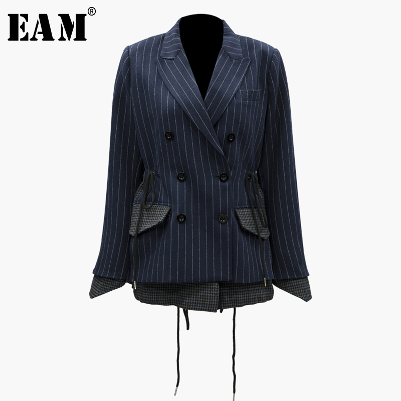 [EAM] 2019 Spring Winter Woman Blue Striped Long Sleeve Spliced Drawstring Turn-down Collar Double Breasted Slim Coat LE885